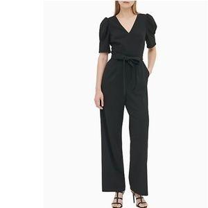 NWT Calvin Klein Puff Sleeve Jumpsuit Ivory 8